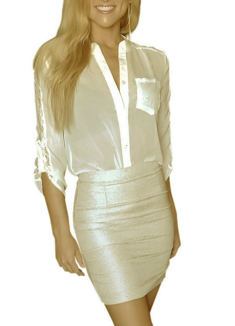 Trendy Pencil Skirt Has Zipper Back, Features a Shimmer Thread throughout (H-48)