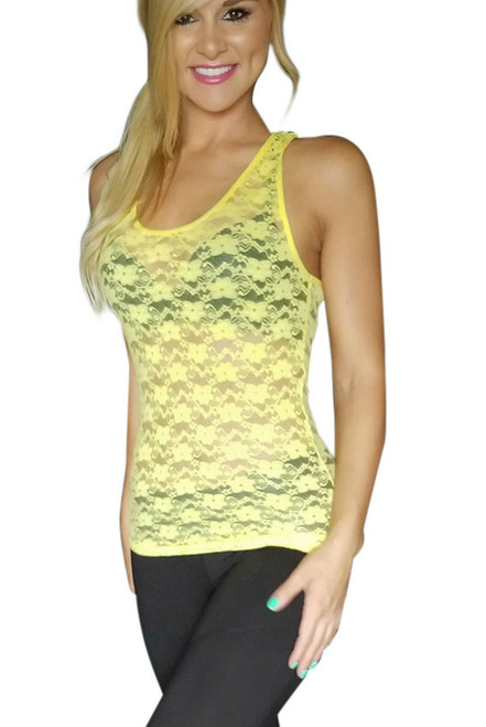 Lace Tank Top Canary Yellow (H-51)