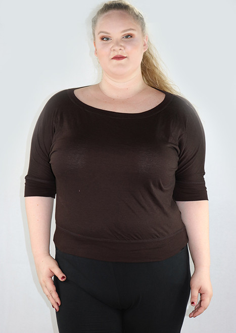 Plus Size Cotton Chocolate Brown Top By Artisan Apparel (H-58)
