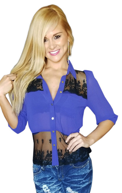 Sheer Cobalt Blue with Fancy Lace Detail Button Top (18-3)