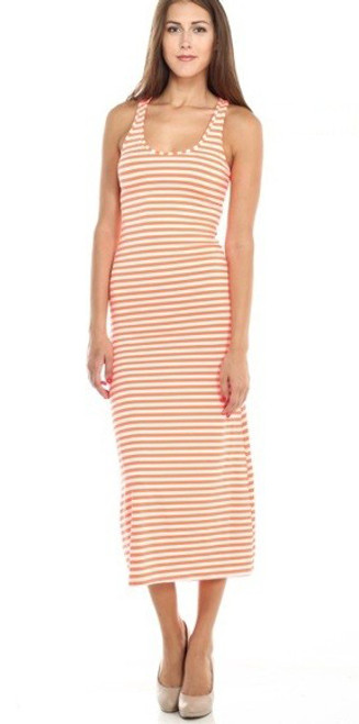 Sleeveless Stretch Orange & White Stripe Maxi Long Dress (20-6)
