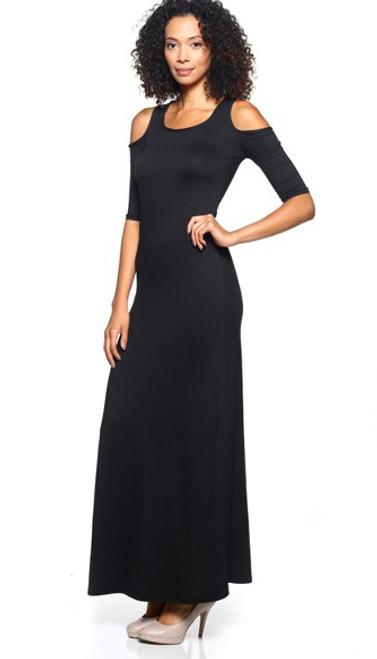 b1a64d463d2e Stunning Open Shoulder Half Sleeve Long Black Maxi Dress (20-10) -  5dollarfashions.com