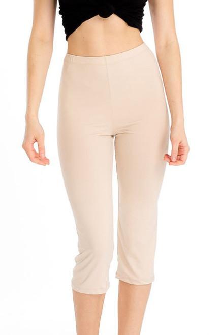 Comfy and Stylish Khaki Capri Leggings. (20-17)
