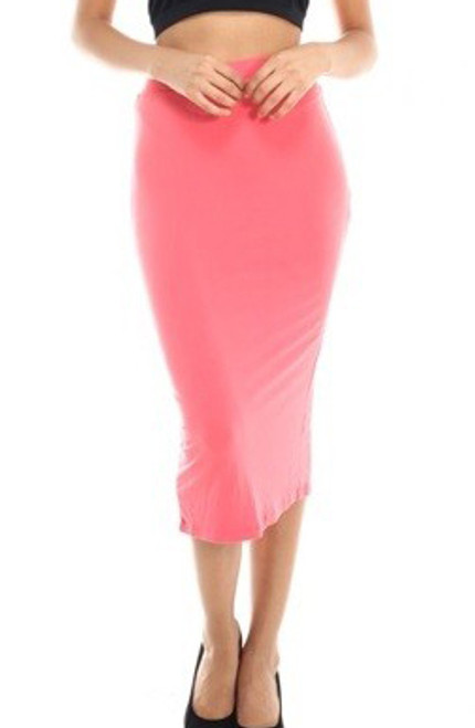 bb0b67fb6 Coral Pencil Back Slit Skirt Features Elastic Waist (20-28 ...
