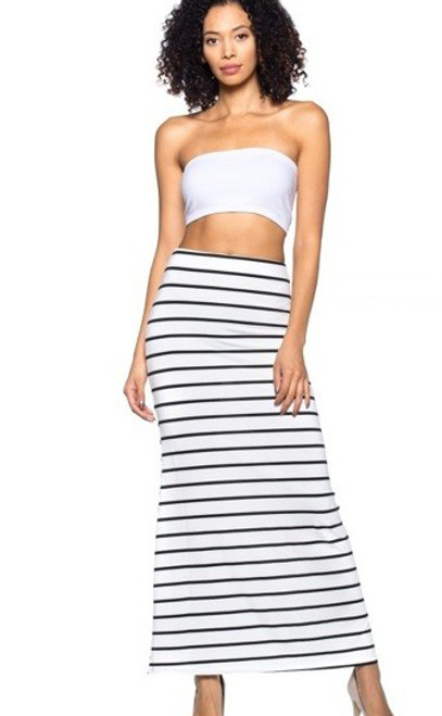 Black white striped skirt sorry
