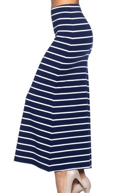 70940cda9a88 Classic Stretch Maxi Long White & Black Stripe Skirt (20-31 ...