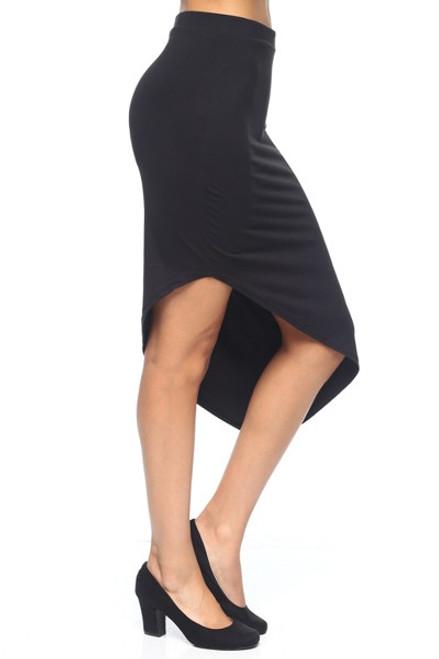 Classic Stretch Asymmetric Black Skirt (20-34)