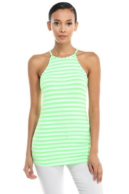 Cami Stretch Lime and White Stripe Top Features a Racer Back (20-39)