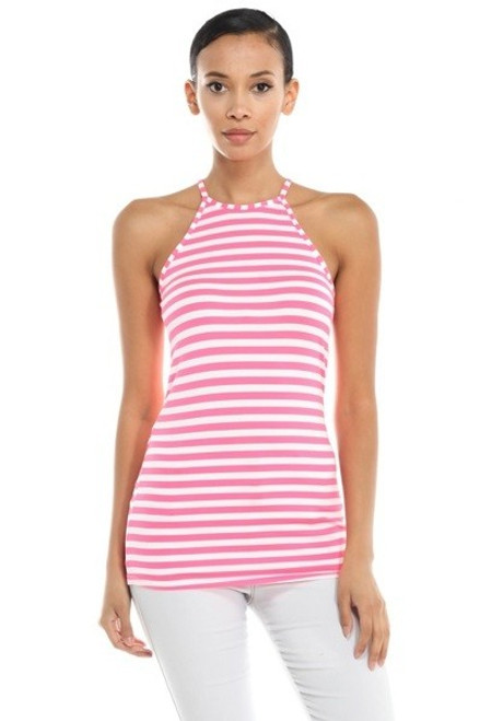 Cami Stretch Neon Pink and White Stripe Top Features a Racer Back (20-41)