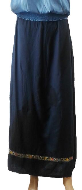 100% Rayon Maxi Skirt with Embroidery Hem Navy (i-3)
