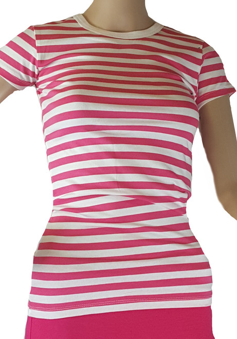 100% Cotton Fitted Short Sleeve Fuchsia & White Strip Stretchy Top (i-7)