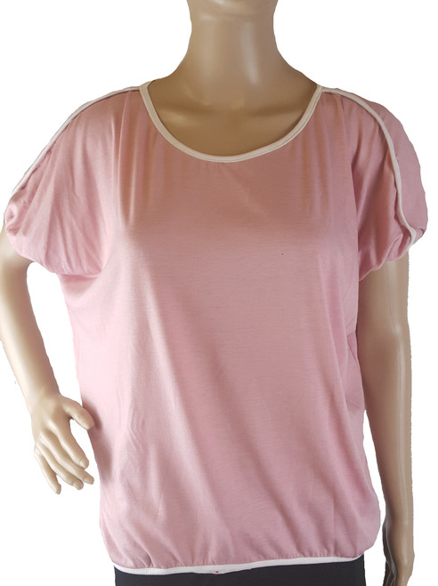 Loose Fititing Pink Top with Features White Piping Edging By Zinc (i-9)