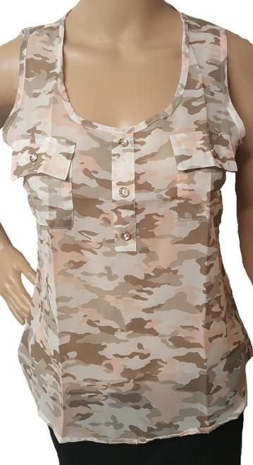 Chiffon Junior Sleeveless Pink/Grey Camouflage Top (i-11)