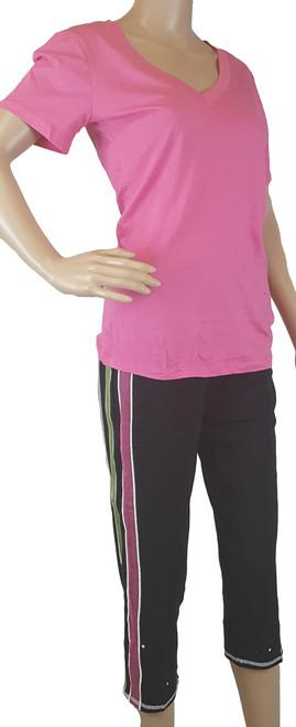 Black Capri Legging Pants Features Color Strips & Sequin Accents (i-13)