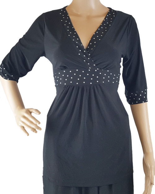 Major Brand Silky V-Neck Top with Fabric Belt! Black with White Polka Dots.  (i-14)
