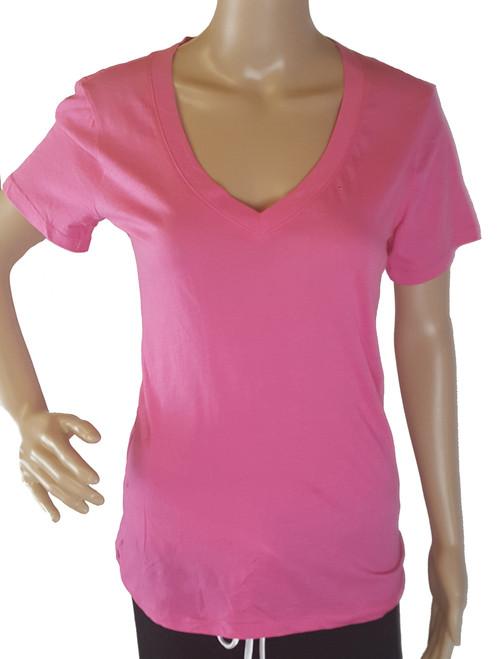 100% Cotton V-Neck Soft Dark Rose Plain T-Shirt (i-15)