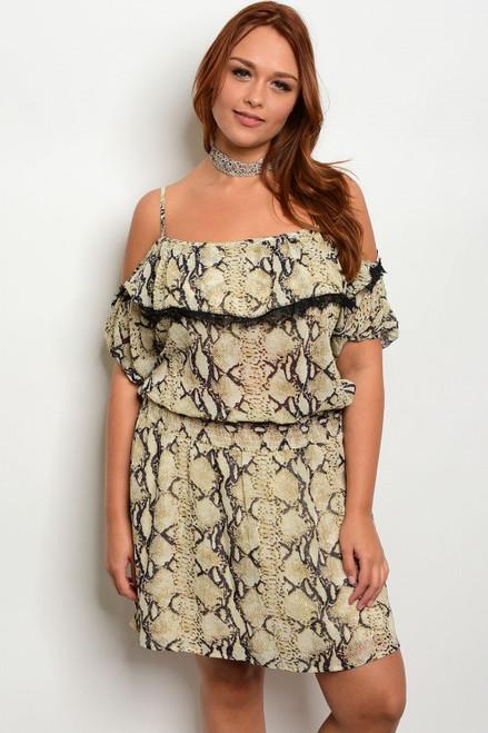 Plus Size Off the Shoulder Tan Snake Print Dress (21-3)
