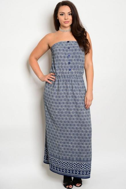 Plus Size Strapless Navy & Ivory Maxi Dress (21-4)