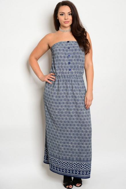 Plus Size Strapless Navy & Ivory Maxi Dress (21-4)