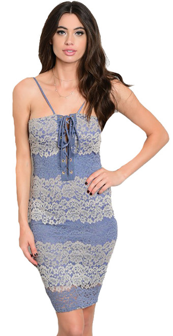 Spaghetti Strap Lace-Up V Neck Denim & Beige Lace Dress(21-6)