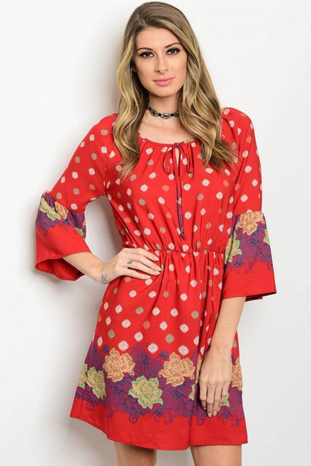 Floral Print Bell Sleeve Smock Red Dress (21-9)