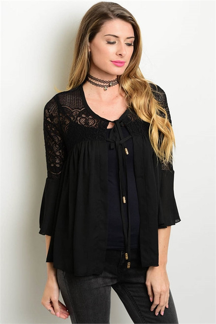 Lace Bell Sleeve Black Top Self-Tie closure (21-25)