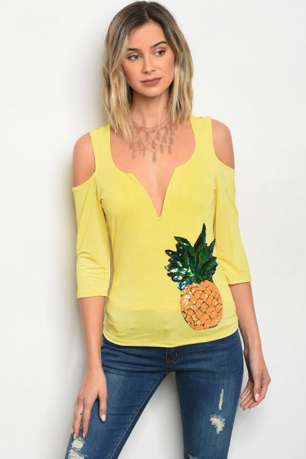 Cold Shoulder Sequin Pineapple Patch Yellow Top (22-15)