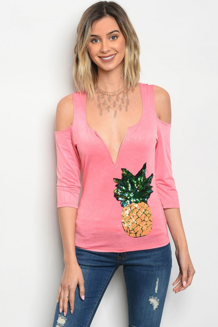 Cold Shoulder Sequin Pineapple Patch Pink Top (22-16)