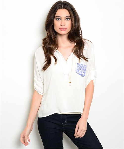 100% Rayon Relaxed White Top Accent Pocket  (22-22)