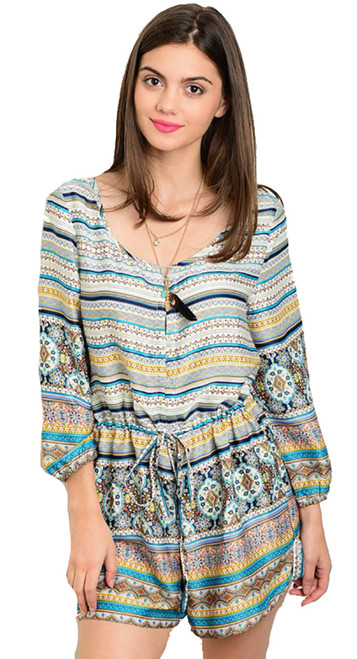Comfy Multicolor Turquoise Tribal Print Romper (22-24)