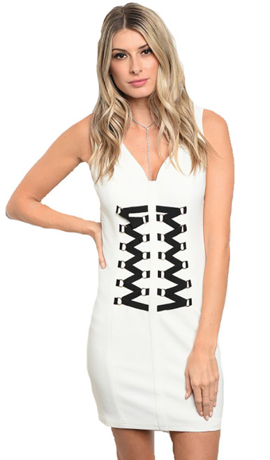 Sleeveless Corset Front Detail White/Black Dress (22-35)