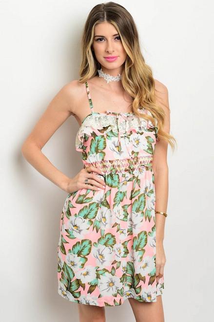 Spaghetti Strap White Floral Print Peach-Green Dress (22-38)