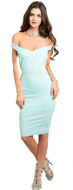 Elegant Off Shoulder Light Aqua Fitted Dress (22-39)