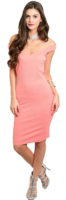 Elegant Off Shoulder Coral Fitted Dress (22-40)