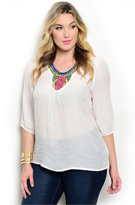 Plus Size Relax Fit Beading V-neck Top (23-5)