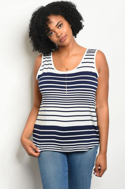 Plus Size Navy and White Stripe Sleeveless Top (24-7)