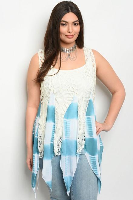 Plus Size Sleeveless Crochet Aqua/White Top (24-33)
