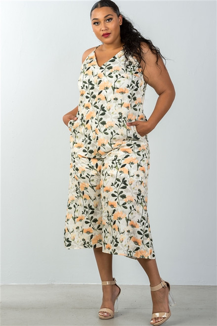 Plus Size Yellow & Floral Capri Jumpsuit (25-9)