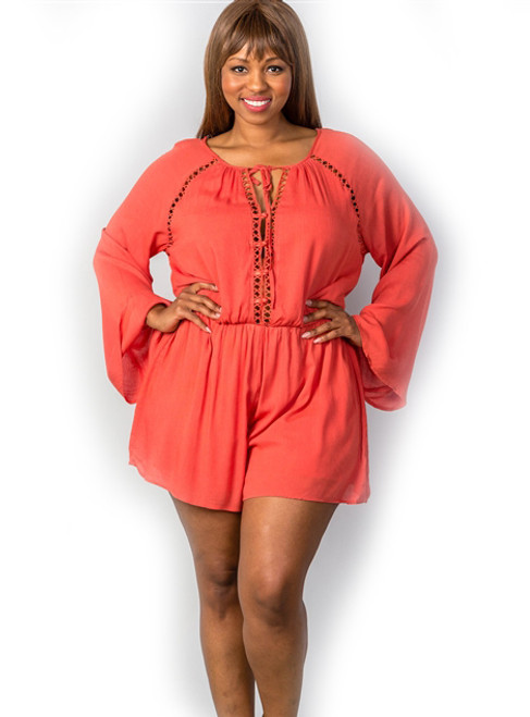 Terra Cota Ladder Inset Bell Sleeve Plus Size Romper (25-11)
