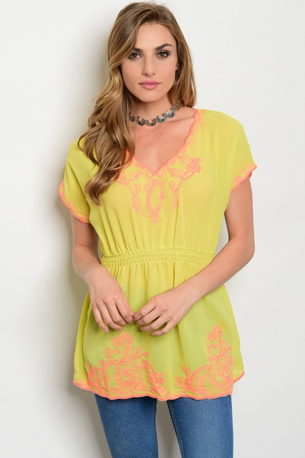 V-Neck Tunic Lime/Coral Top (26-6)