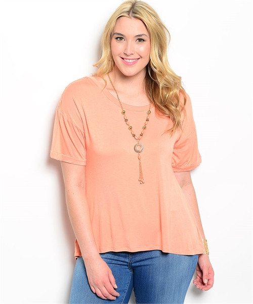 Plus Size Relaxed Fit Peach/Ivory Top (26-14)
