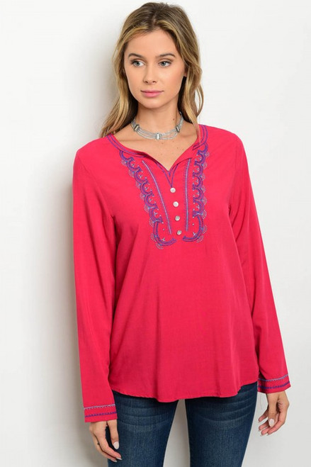 100% Cotton Long Sleeve Royal Red Tunic Topc (26-16)