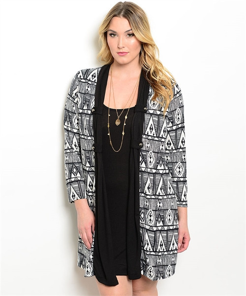 Plus Size Two-in-One Tribal Print Black/White Dress (26-21)