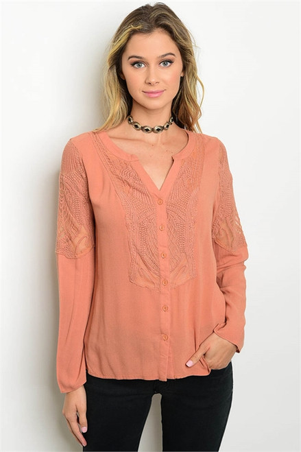 100% Rayon Long Sleeve Lace Rust Top (26-22)