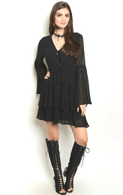 Bell Sleeve Smock Waist Chiffon Black Dress (26-33)