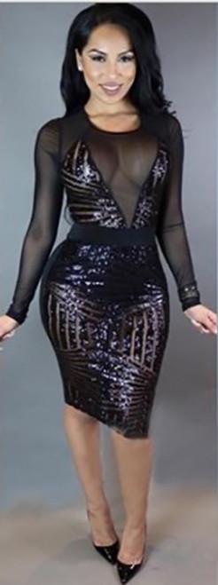 Black Sequins & Sheer Long Sleeves Dress (6-22)