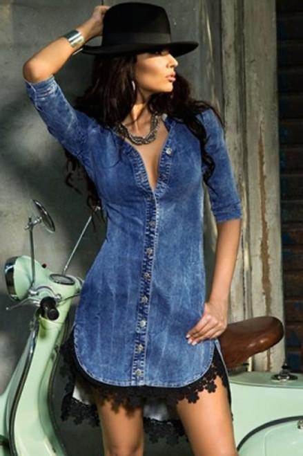Button Up Denim Dress-Shirt Lace Trim (6-39)