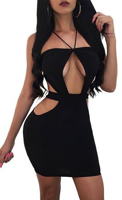 Sexy Strappy Open Black Dress (4-37)