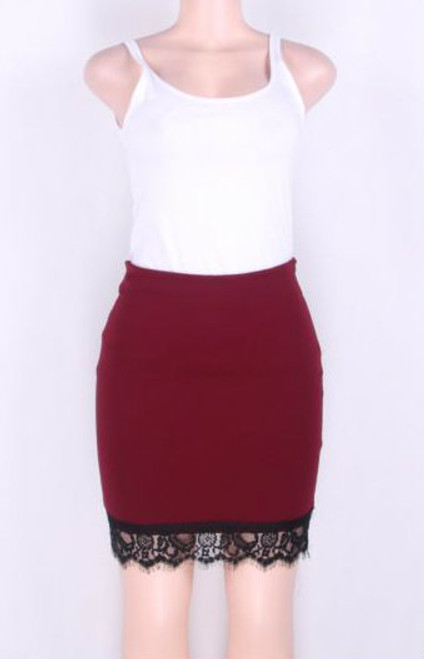 Fashion Skirt with Lace Trim Rose Red (4-72)