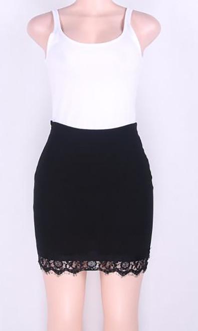 Fashion Skirt with Black Lace Trim Black (4-73)
